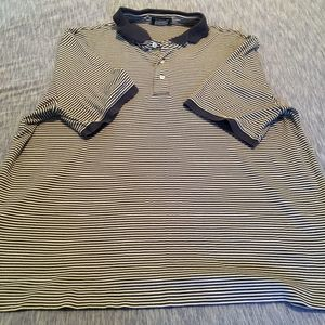 4/$25 Lands' End Short Sleeve Striped Polo Gray XL